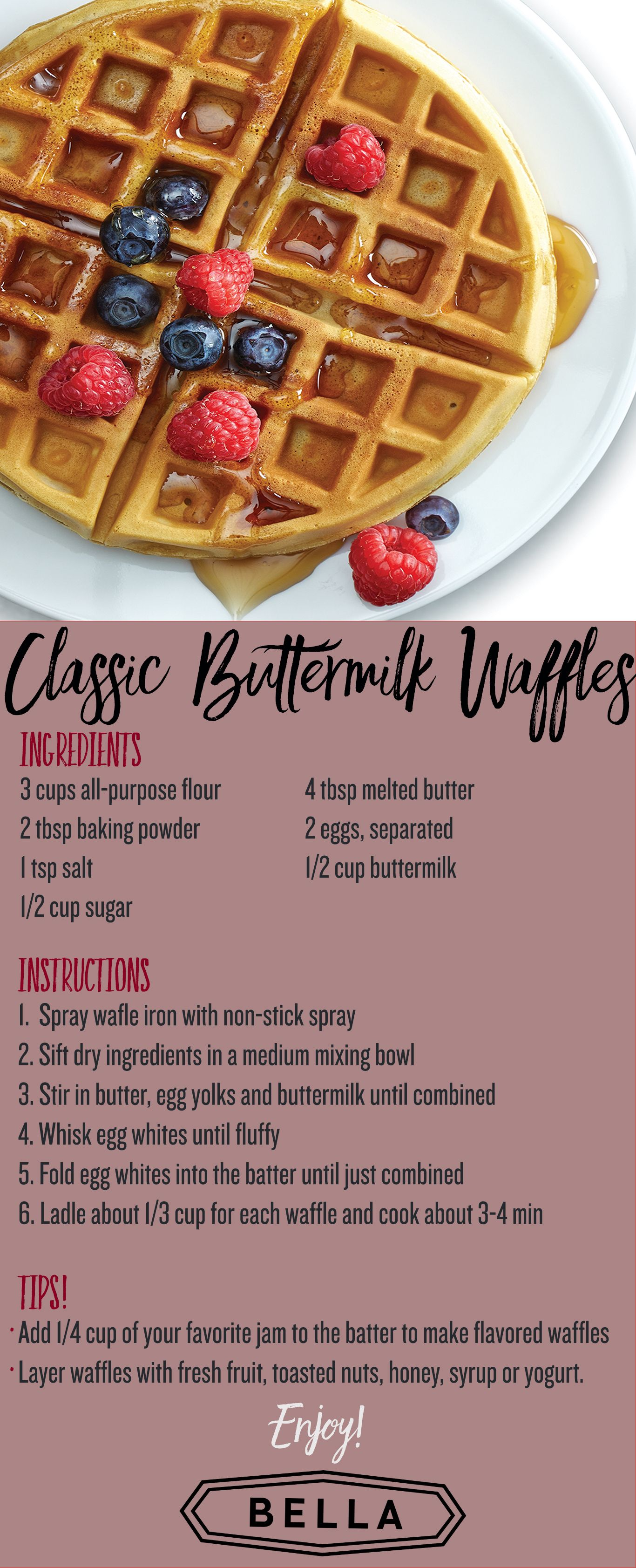 Classic Buttermilk Waffle Recipe For Your Bella Waffle Maker Waffle Maker Recipes Breakfast Waffle Maker Recipes Waffle Iron Recipes