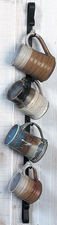 Metal Wall Mounted Mug Rack - Vertical