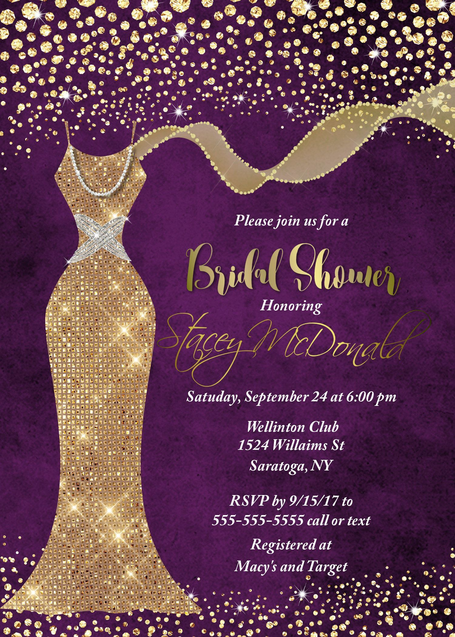 Purple And Gold Bridal Shower Invitation Bridal Shower Invitation