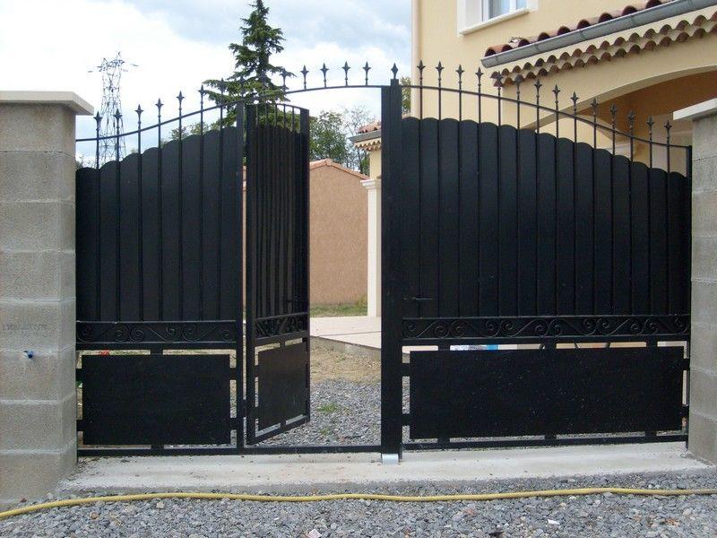 R sultat de recherche d 39 images pour portail coulissant avec porte integree decoraci n in - Portail coulissant avec porte integree ...