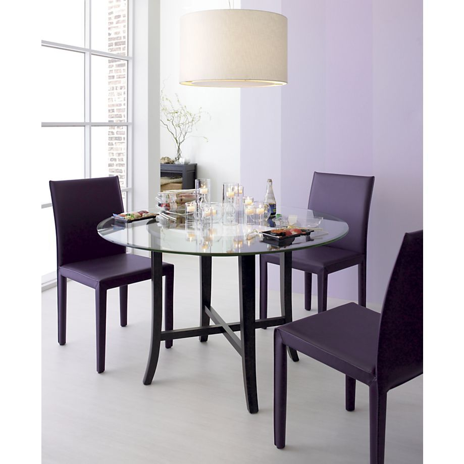Folio plum leather side chair in dining chairs crate and barrel
