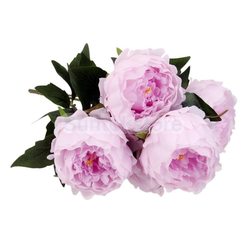 Artificial Peony Silk 5 Heads Flower Bush Banquet Wedding Party ...