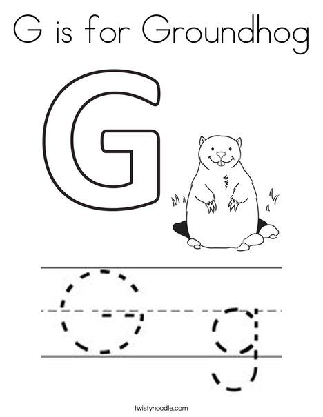 G Is For Groundhog Coloring Page Twisty Noodle Groundhog Day