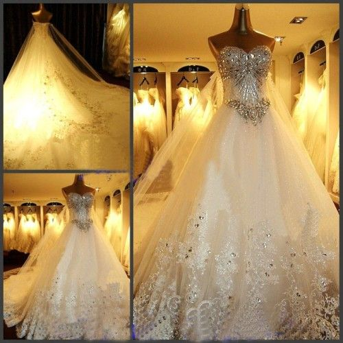 Amazing Ball Gown Sweetheart Cathedral Train Lace and Tulle With ...