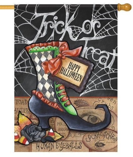 Happy Halloween Boot House Flag House flags, Fright night and Flags