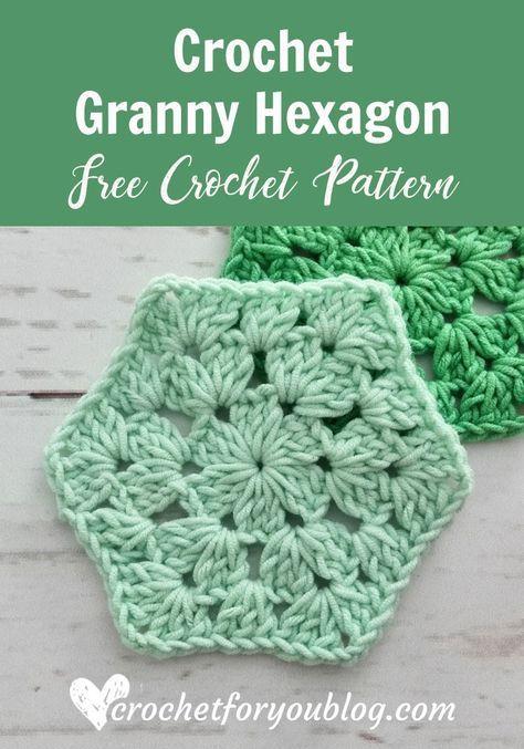 Crochet Granny Hexagon Free Pattern #grannysquares