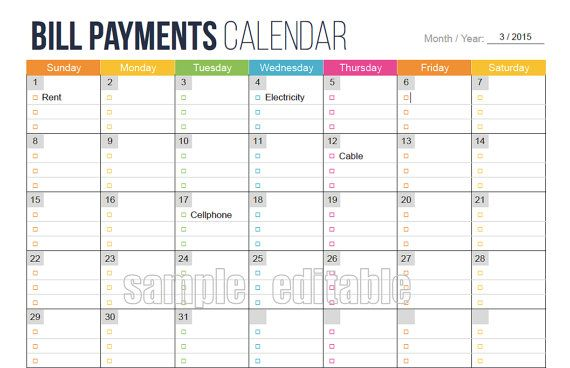Bill Payments Calendar  Editable  Personal Finance Organizing