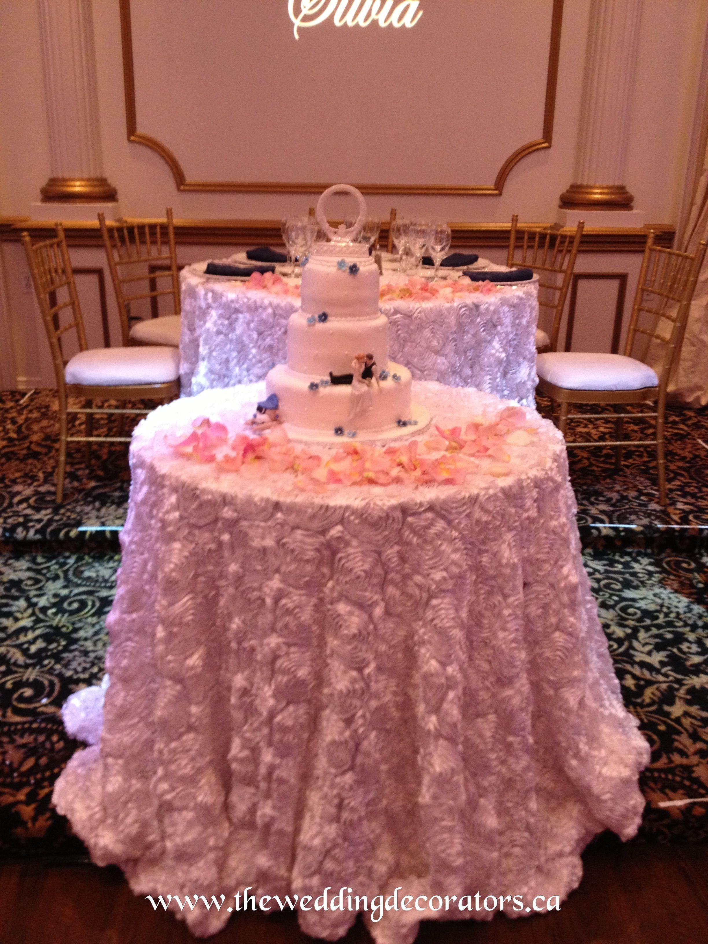 Reception head table & cake table linens. White rosette. | Wedding ...