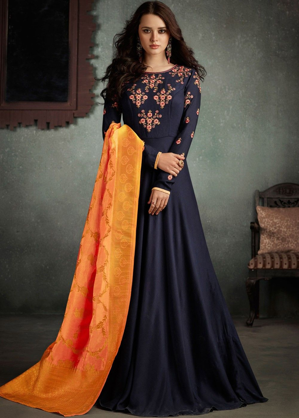93f764a21c4d Readymade Dark Blue Indian Gown in Rayon with Dupatta in 2019 ...