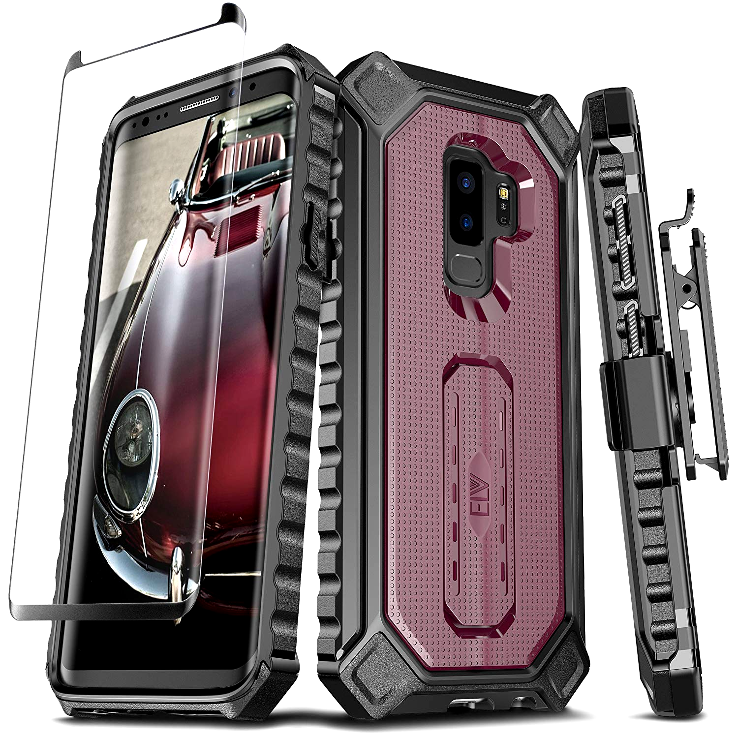 4d78b1120f GALAXY S9 PLUS Case Rugged Cover W/ Built-in kickstand+Screen Protector  BURGUNDY Built-in kickstand: you can now enjoy your phone hands free.