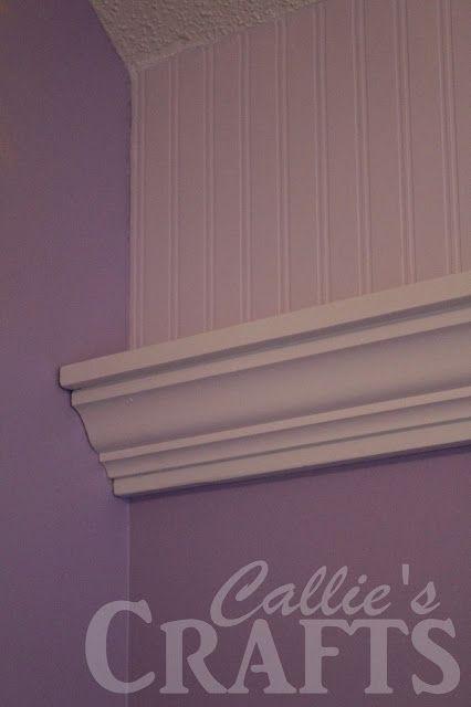 DIY Crown Moulding Shelf, bead board wall paper Crown