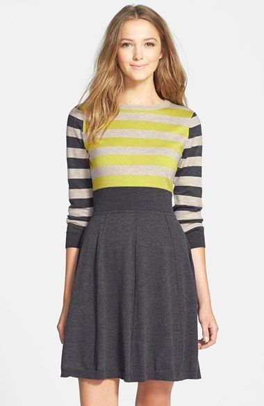 Eliza J Stripe Fit Flare Sweater Dress Available At Nordstrom