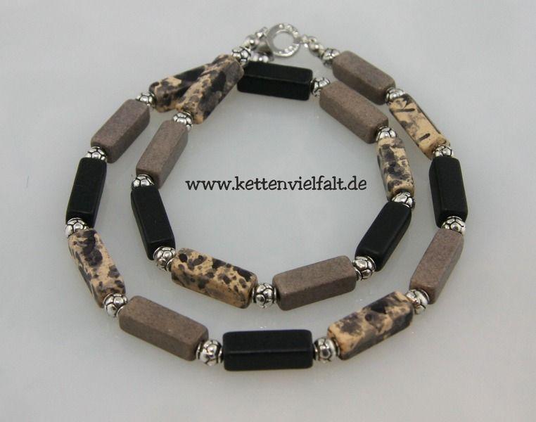 #832 Kette Keramikperlen beige, grau, schwarz von KettenVielfalt auf DaWanda.com