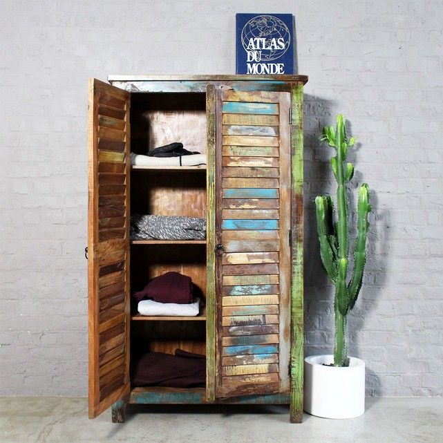 Armoire Bois Massif 2 Portes A Clayettes Mk19 Made In Meubles Armoire Armoire En Pin Armoire Rangement