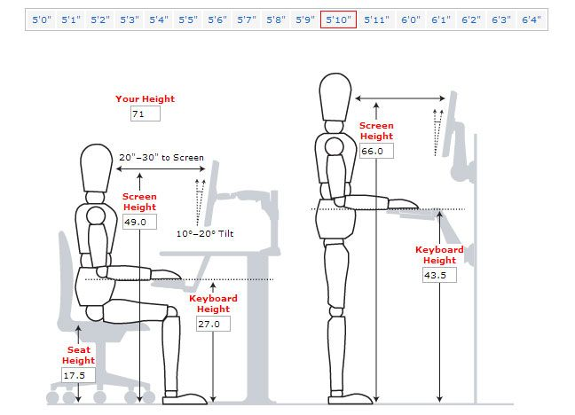 Desk Height For Someone 5ft 10 Inches Tall Desk Height