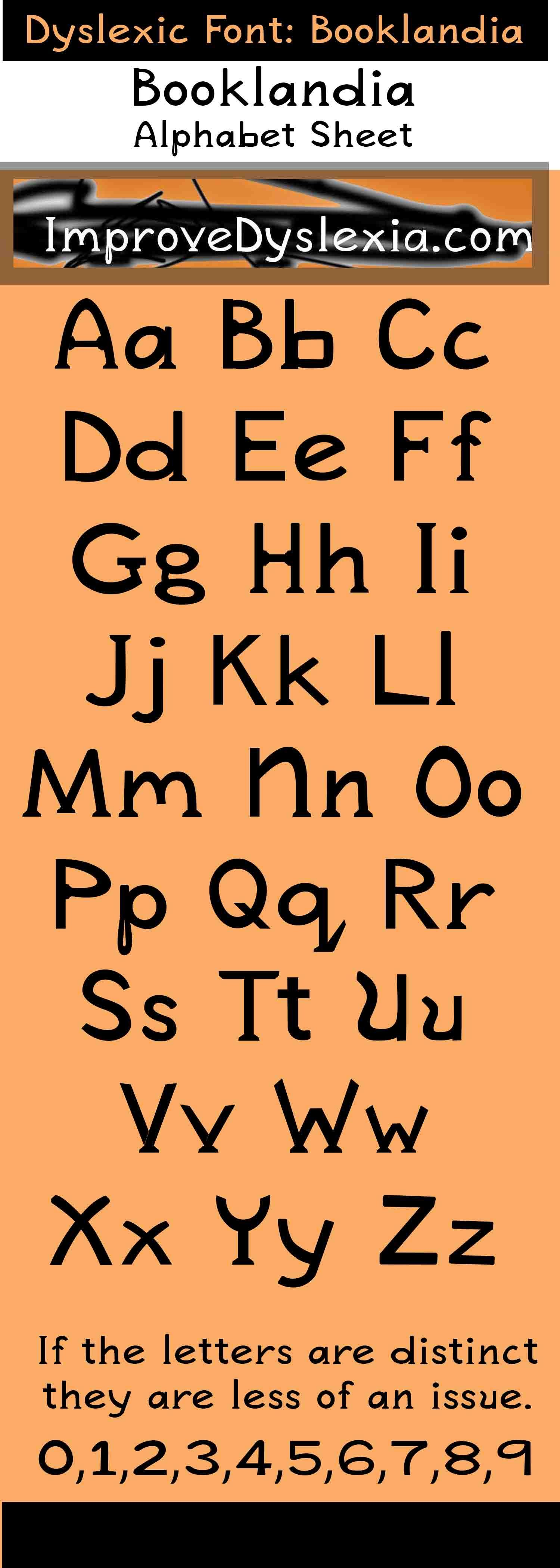 Booklandia Dyslexia Font And Alphabet Example Sheet