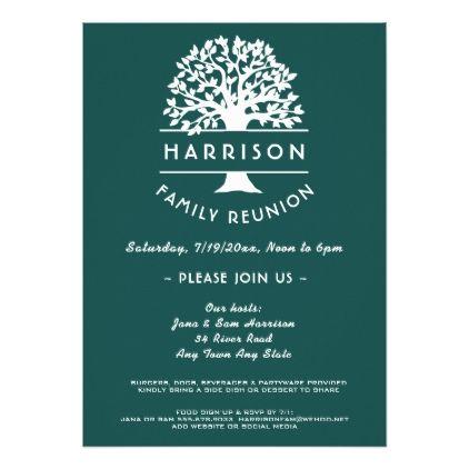 Ancestry Tree Blue Green Family Reunion Invitation - reunion cards ...