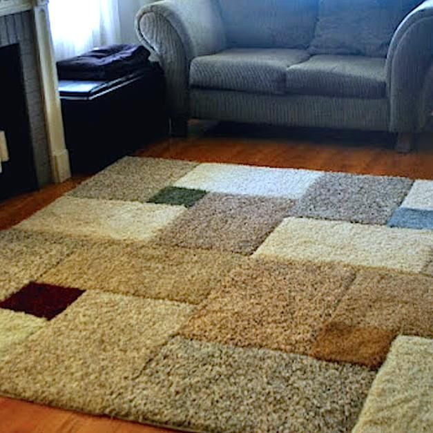 She Spent 30 On Carpet Squares And Duct Tape When The Camera Pans Out Amazing Area Rugs Cheap Diy Carpet Homemade Rugs