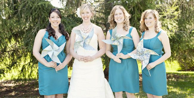 Pinwheels Instead Of Bouquets Photo Natalie Spencer Photography