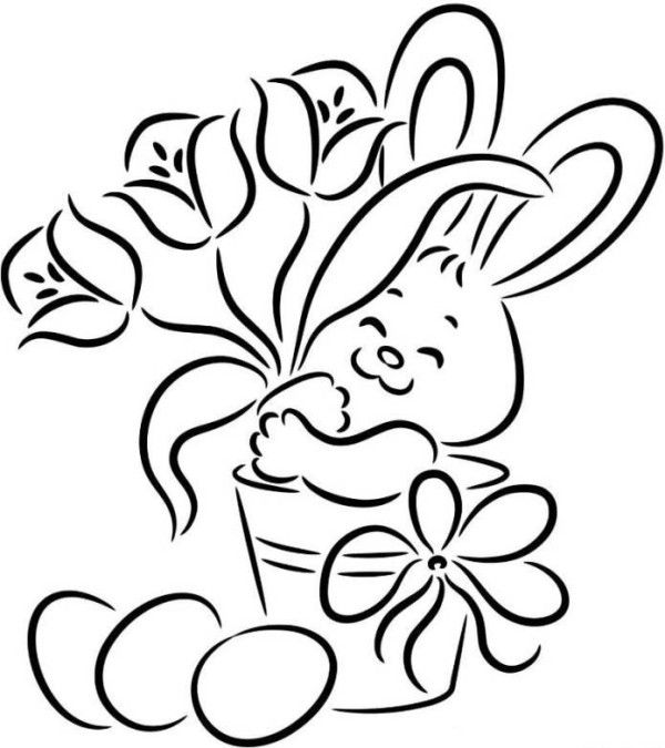 Easter Bunny With Flower And Egg Easy Easter Coloring Pages