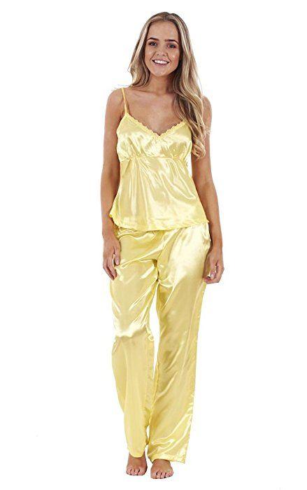 44bd5820d32cf Ensemble pyjama femme 3 pièces en satin avec débardeur dentelle et short,  vêtements de nuit pour femme Jaune citron 40/42: Amazon.fr: Vêtements et ...