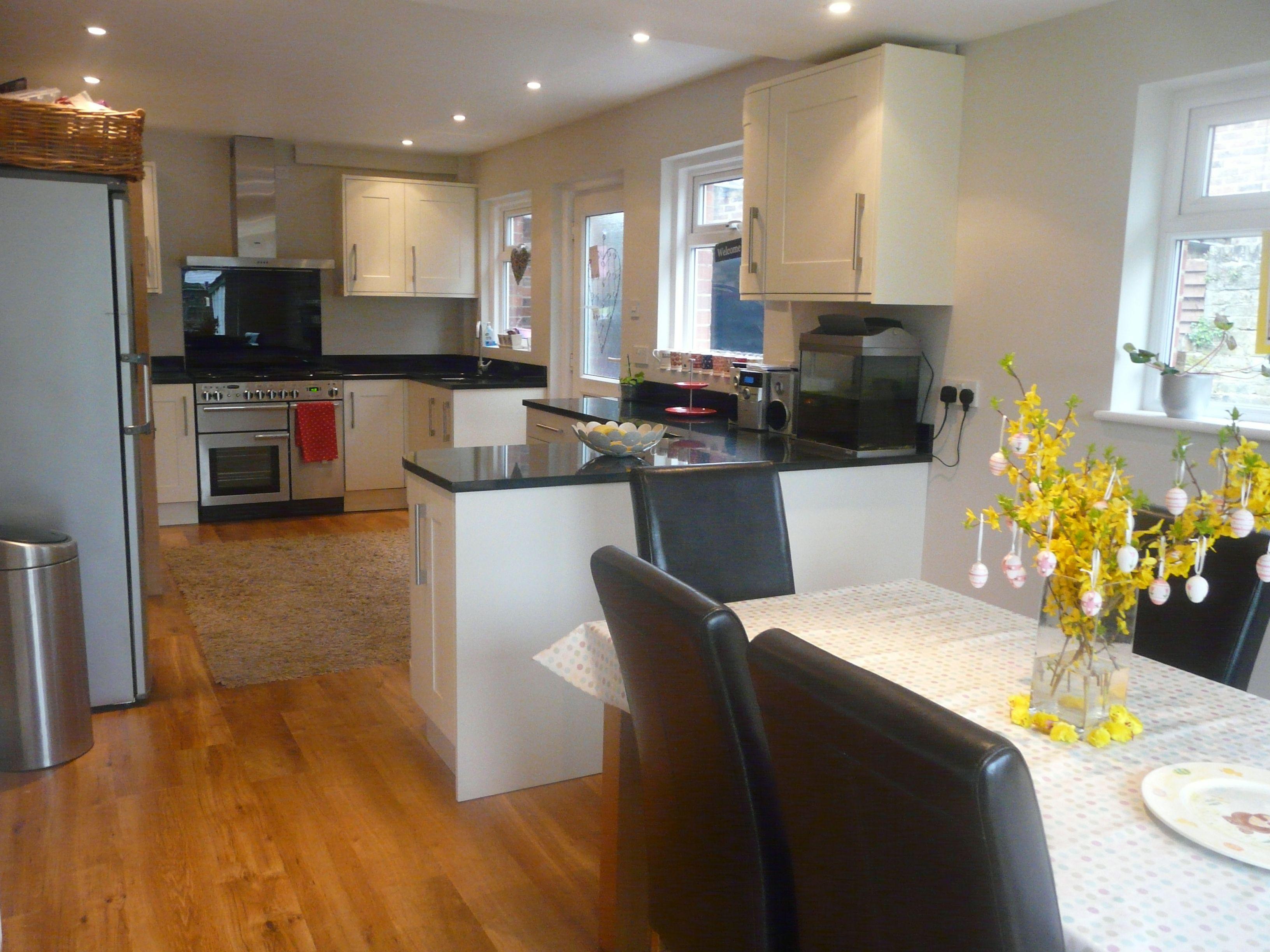 wickes kitchen, black granite, karndean flooring Kitchen