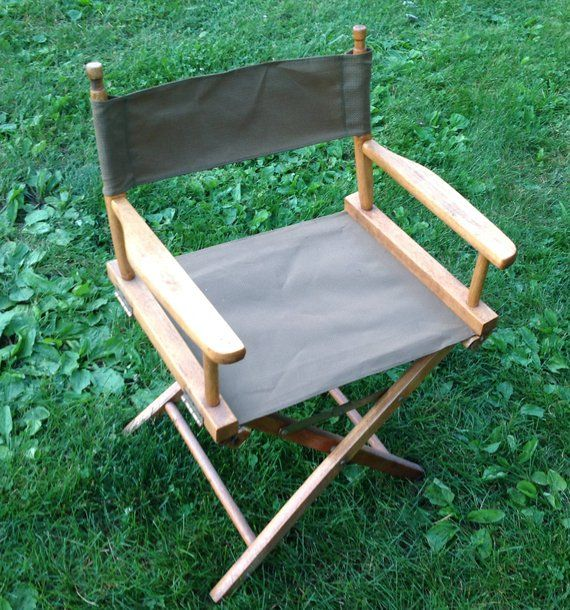 folding chair fabric back app collapsible director s vintage wood and campi