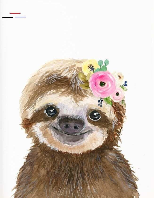 Pin By Dana Siefker On Art Journal Stuff In 2020 Baby Animal Painting Sloth Art Baby Animal Nursery