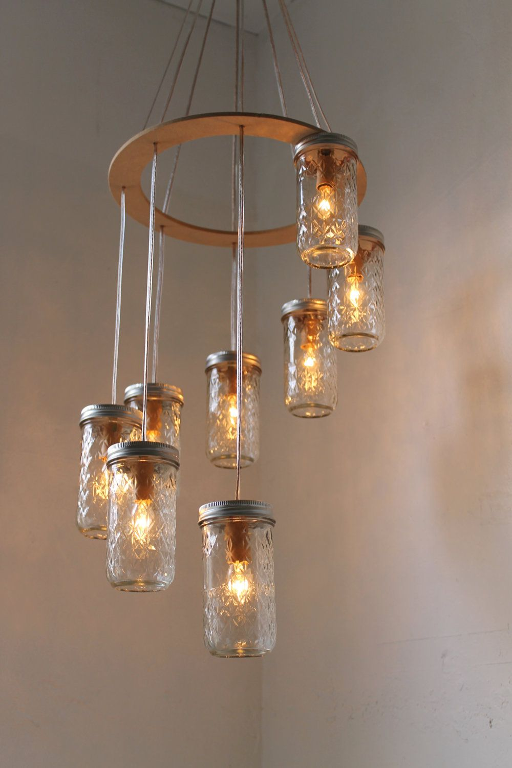 Quilted diamonds canning jar waterfall chandelier spaces and what mason jar chandelier spiral waterfall mason jar lighting fixture with 8 quilted pint jars bootsngus rustic modern home lighting decor arubaitofo Images