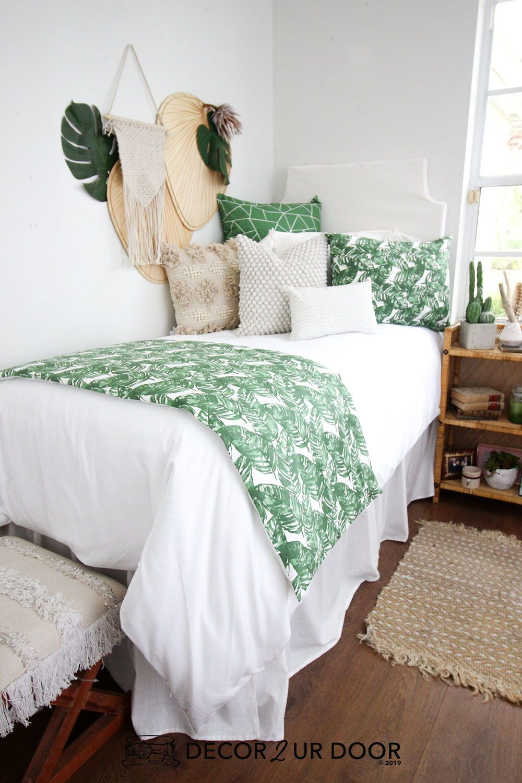 White & Green Leaf Dorm Bedding Set #collegedormroomideas