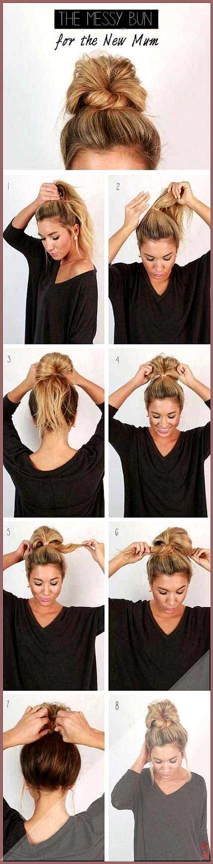 46 Super Ideas For Hair Styles For School Medium H Buns Hair Ideas Knot Medium Messy Messy Bun Top Knot Cool Easy Hairstyles Easy Hairdos Easy Updo Hairstyles