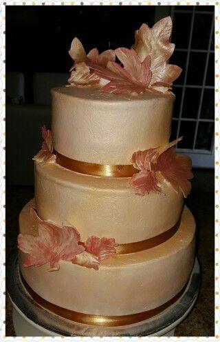 Gold fall leaves cake by Karen's Kaykes