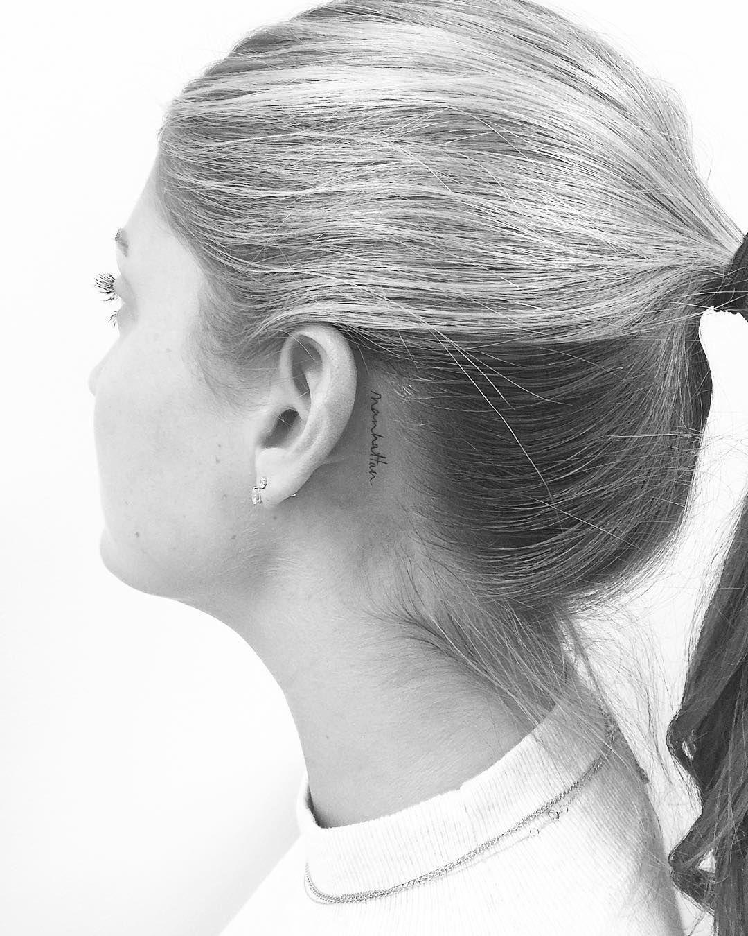 C S Jon Boy P V On Instagram Manhattan Jonboytattoo Behind Ear Tattoos Cute Small Tattoos Celebrity Tattoos