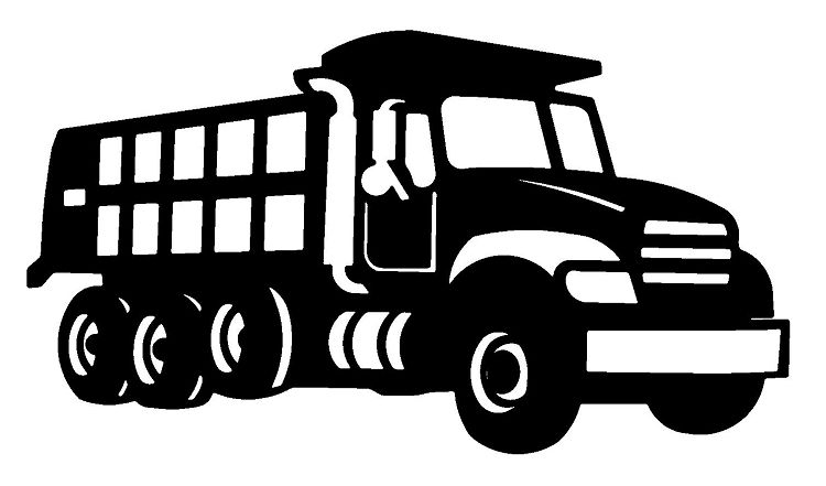 Dirt dump truck. Clipart black and white