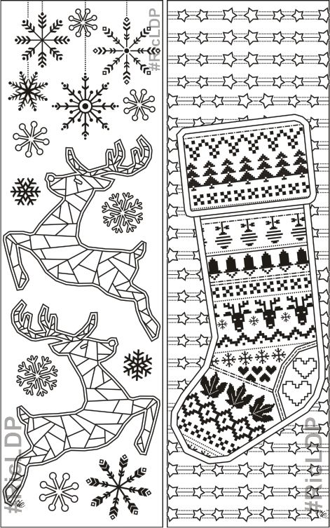 Set of 8 Yuletide Coloring Bookmarks Christmas Colouring