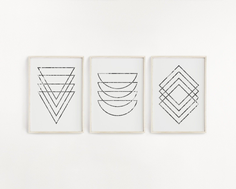 Set Of 3 Black And White Geometric Prints Downloadable Art Printable Wall Art Aesthetic Room Decor Minimalist Poster Modern Office Art Printable Wall Art Downloadable Art Prints