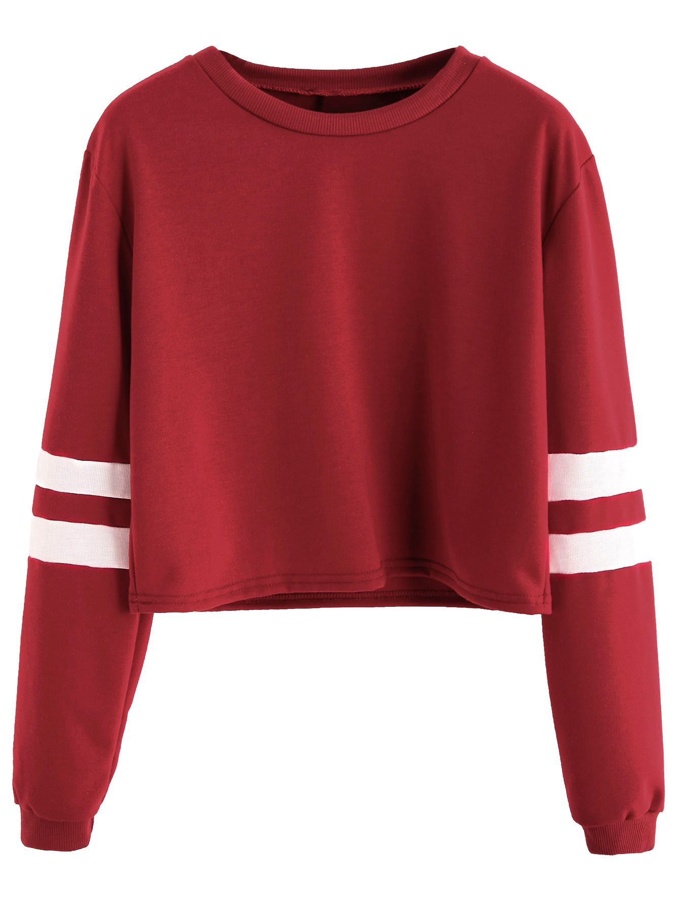 e61146c0843 Burgundy Varsity Striped Sleeve Crop T-shirt in 2019 | clothes ...