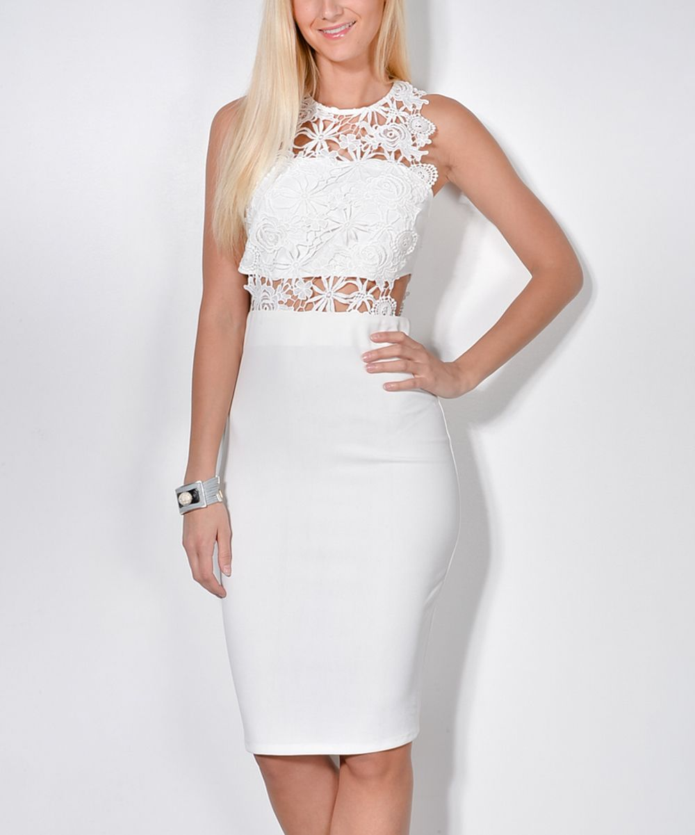 White Sheer Lace-Accent Bodycon Dress