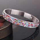 Fine multi colored shamballa fashion swarovski crystal stainless steel bangle