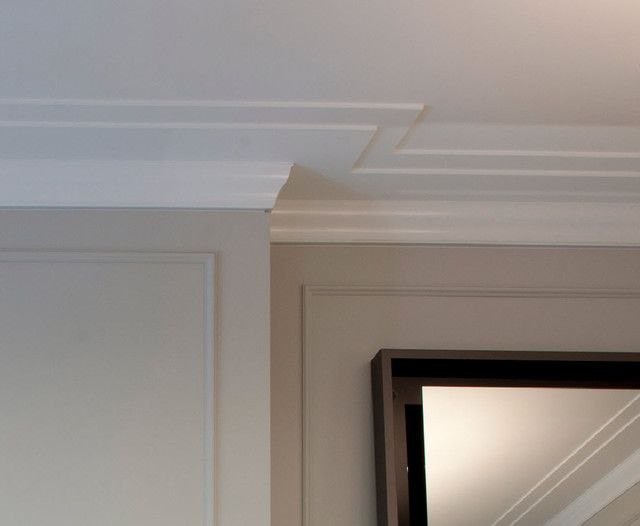 Crown molding detail closeup reveal contemporary for Drywall designs living room