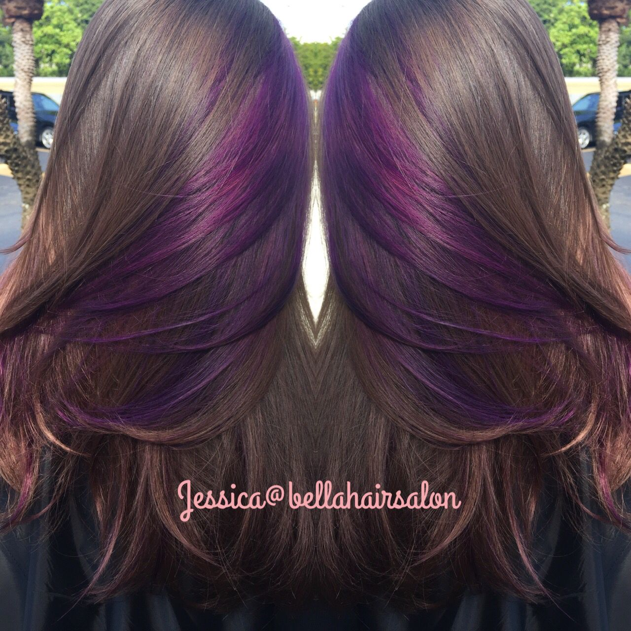 Purple Peekaboos Peekaboo Hair Purple Highlights Brown Hair Peekaboo Hair Colors