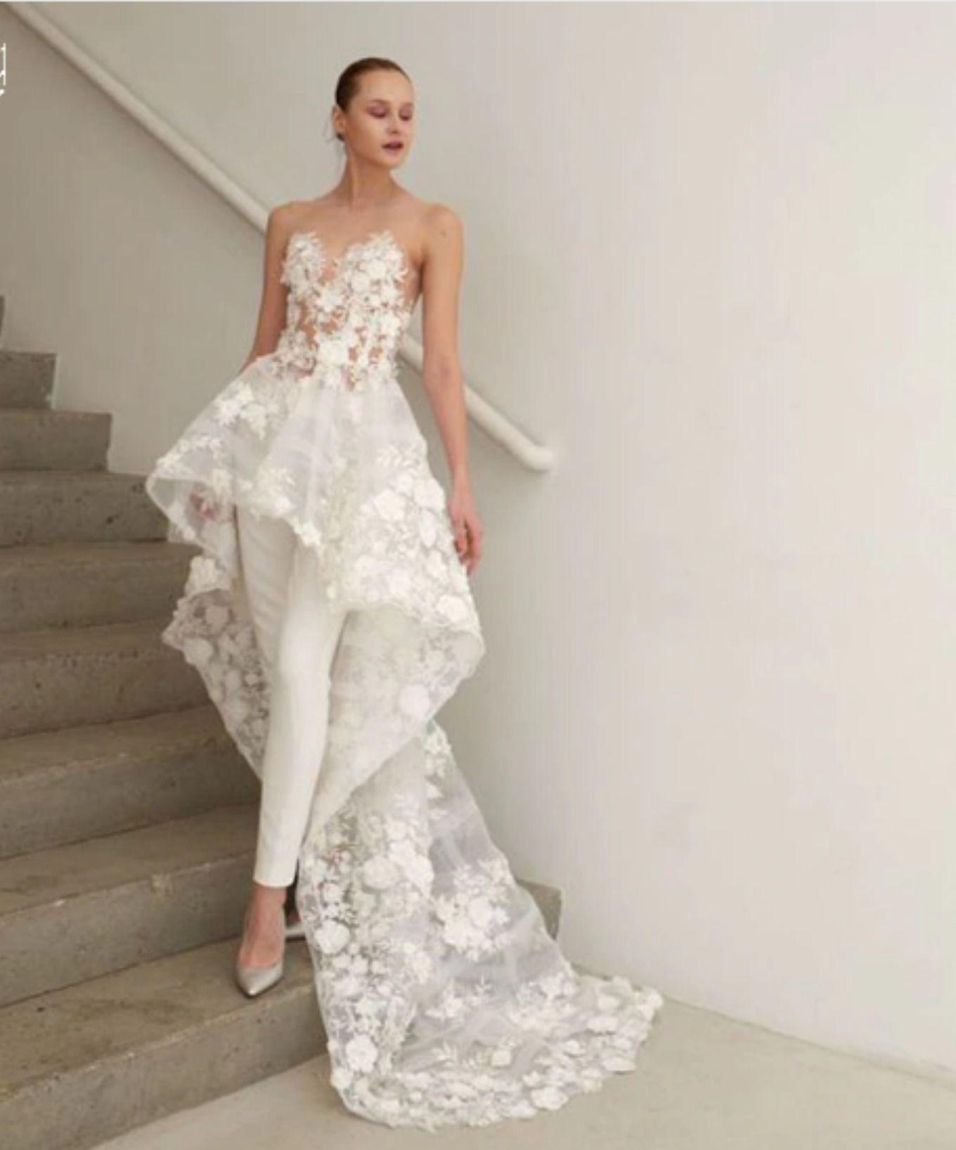 Pd05 Charming 3d Flowers Appliques Two Pieces Pantsuit Bridal