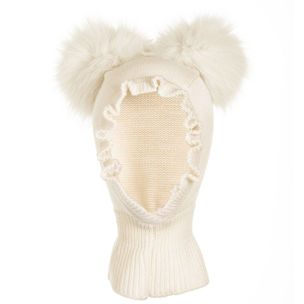 Ivory Pom-Pom Balaclava for Girl by Catya. Discover more beautiful designer  Hats for kids online 815b4b0e526