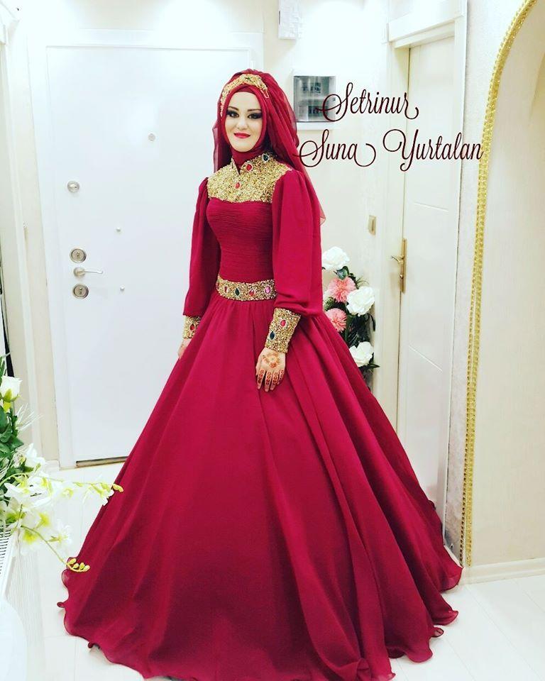 Kırmızı aşkı | Hijab bride in 2018 | Pinterest | Dresses, Gowns and ...