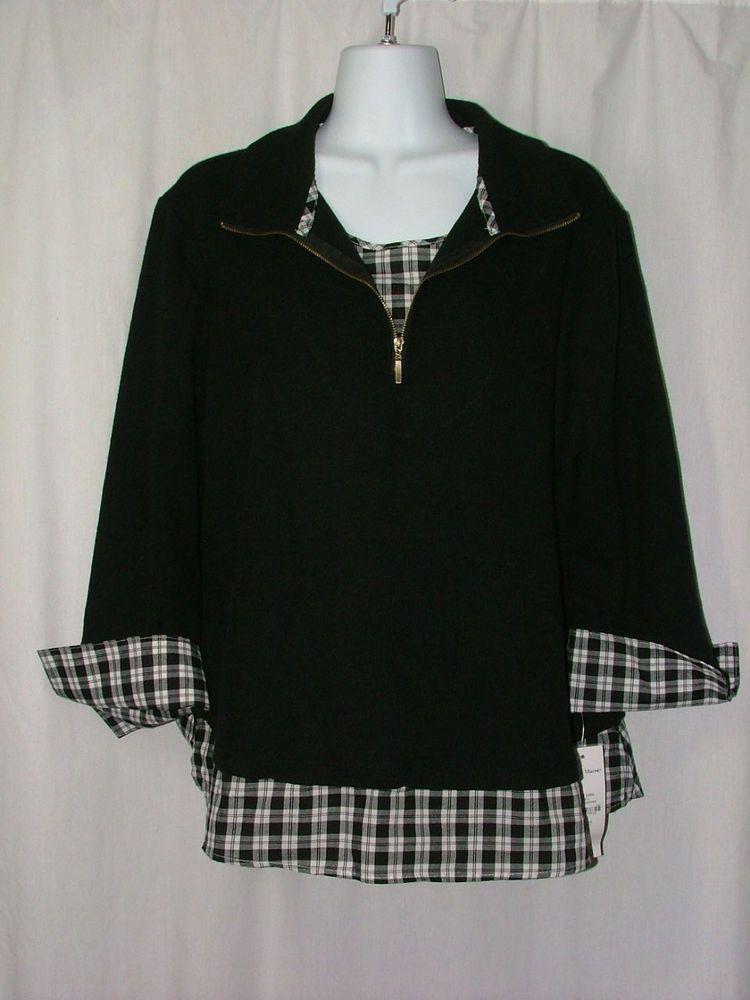 04bf303c612 Rebecca Malone NWT Black Shirt Top Blouse Knit Layered Look 3 4 Sleeve Size  L  RebeccaMalone  KnitTop