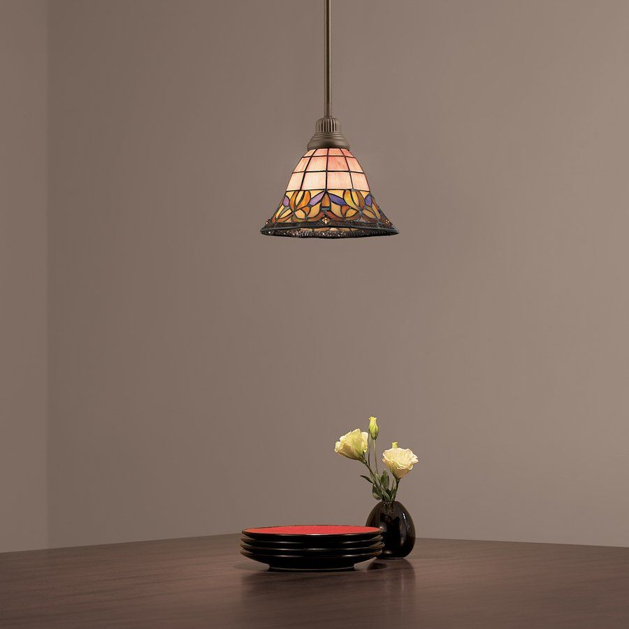 Portfolio Art Nouveau Bronze Flora Mini Pendant Light With Tiffany Style Shade At Lowe S Canada Find Our Selection Of Lights The