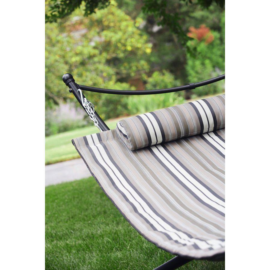 Shop Garden Treasures 9.5 Ft Black Polyolefin Double Hammock With Stand At  Lowes.com