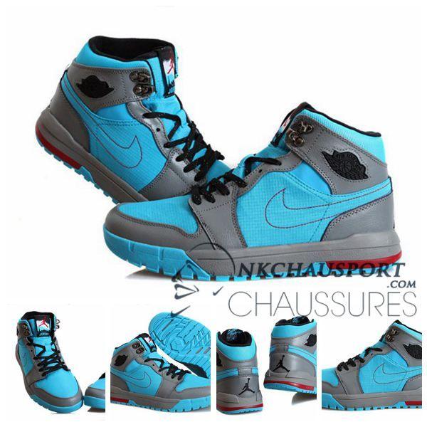 more photos 1a2cb 58ad4 Nike Air Jordan 1   Classique Chaussure De Basket Homme Grise Bleu