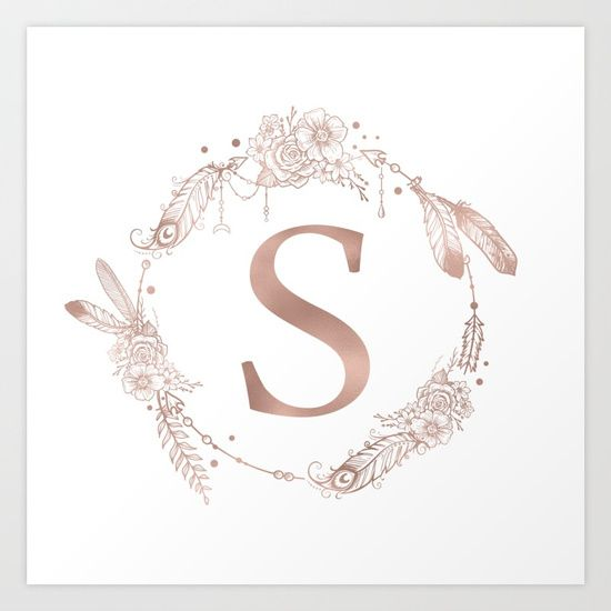 Letter S Initial Monogram Pink Shimmery Rose Gold With A Boho Bohemian Wreath With Leaves Vines Feathers Monogram Art Monogram Wallpaper Monogram Throw Pillow