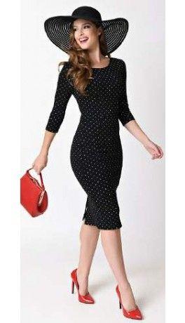 a6308fb065 Unique Vintage 1960s Style Black   White Dot Long Sleeve Mod Wiggle Dress